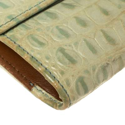 Furla Mint Green Croc Embossed Leather Compact Wallet 360372 - 10