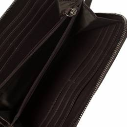 Burberry Beige/Brown Smoked Check Coated Canvas and Leather Zip Around Wallet 360371