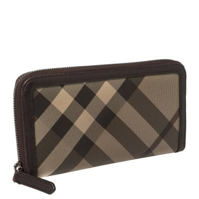 Burberry Beige/Brown Smoked Check Coated Canvas and Leather Zip Around Wallet 360371 - 2