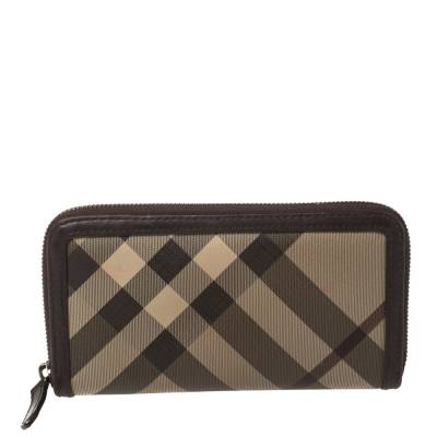 Burberry Beige/Brown Smoked Check Coated Canvas and Leather Zip Around Wallet 360371 - 3