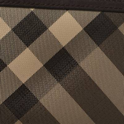 Burberry Beige/Brown Smoked Check Coated Canvas and Leather Zip Around Wallet 360371 - 4