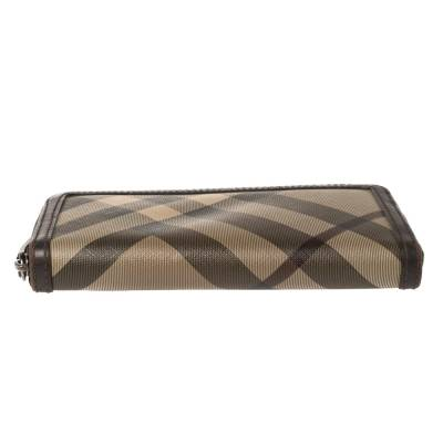 Burberry Beige/Brown Smoked Check Coated Canvas and Leather Zip Around Wallet 360371 - 5