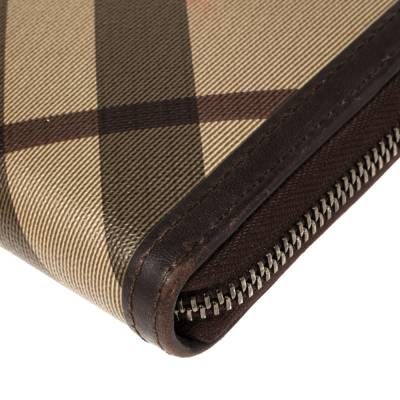 Burberry Beige/Brown Smoked Check Coated Canvas and Leather Zip Around Wallet 360371 - 8