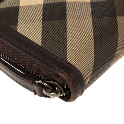 Burberry Beige/Brown Smoked Check Coated Canvas and Leather Zip Around Wallet 360371 - 9