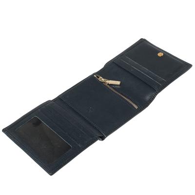 Carolina Herrera Navy Blue Monogram Leather Trifold Compact Wallet 360302 - 2