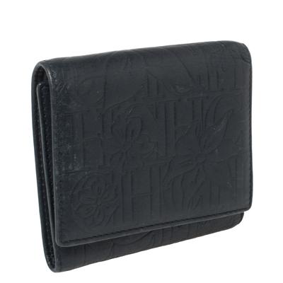 Carolina Herrera Navy Blue Monogram Leather Trifold Compact Wallet 360302 - 3