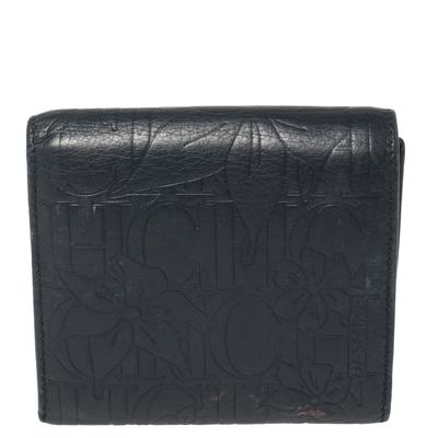 Carolina Herrera Navy Blue Monogram Leather Trifold Compact Wallet 360302 - 4