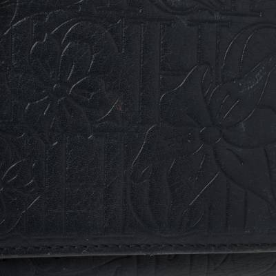 Carolina Herrera Navy Blue Monogram Leather Trifold Compact Wallet 360302 - 5