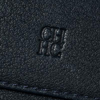 Carolina Herrera Navy Blue Monogram Leather Trifold Compact Wallet 360302 - 8