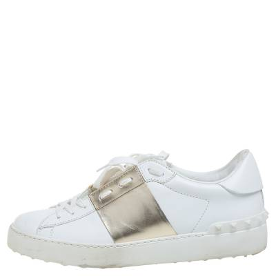 Valentino White/Gold Band Leather Open Low Top Sneakers Size 38.5 360301 - 1