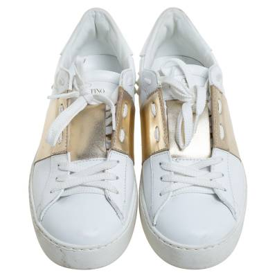 Valentino White/Gold Band Leather Open Low Top Sneakers Size 38.5 360301 - 2