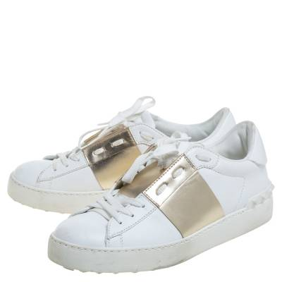 Valentino White/Gold Band Leather Open Low Top Sneakers Size 38.5 360301 - 3