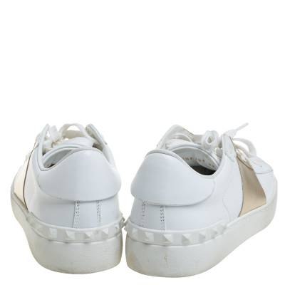 Valentino White/Gold Band Leather Open Low Top Sneakers Size 38.5 360301 - 4