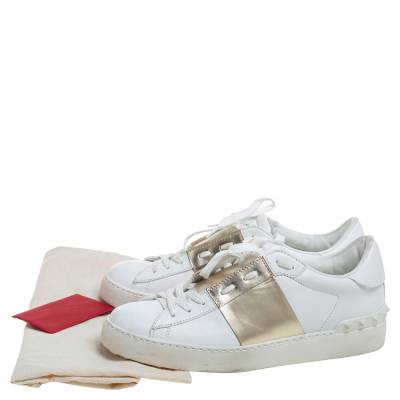 Valentino White/Gold Band Leather Open Low Top Sneakers Size 38.5 360301 - 7