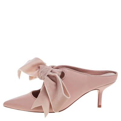 Tory Burch Nude Pink Leather Clara Mule Sandals Size 39 360308 - 1