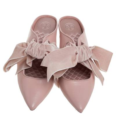 Tory Burch Nude Pink Leather Clara Mule Sandals Size 39 360308 - 2