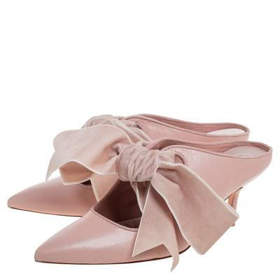 Tory Burch Nude Pink Leather Clara Mule Sandals Size 39 360308 - 3