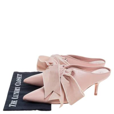 Tory Burch Nude Pink Leather Clara Mule Sandals Size 39 360308 - 7