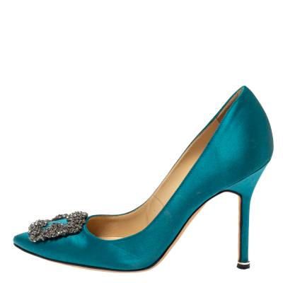 Manolo Blahnik Teal Blue Satin Hangisi Crystal Embellished Pointed Toe Pumps Size 38 360416 - 1