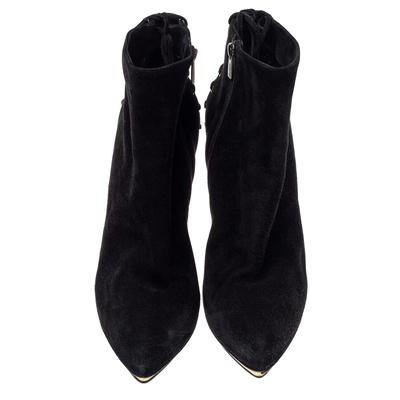 Le Silla Black Suede Lace Detail Heel Ankle Boots Size 40 360411 - 2