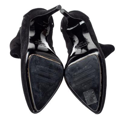 Le Silla Black Suede Lace Detail Heel Ankle Boots Size 40 360411 - 5