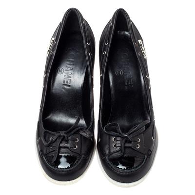 Chanel Black Leather Loafer Block Heel Pumps Size 37 360092 - 2