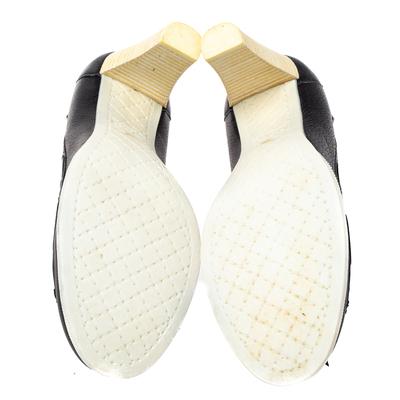 Chanel Black Leather Loafer Block Heel Pumps Size 37 360092 - 5