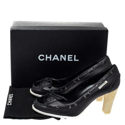 Chanel Black Leather Loafer Block Heel Pumps Size 37 360092 - 7