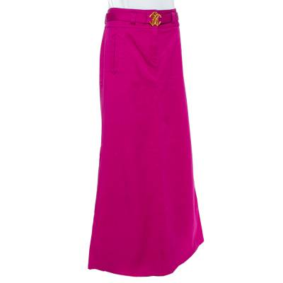 Roberto Cavalli Pink Denim Belted Flared Maxi Skirt M 360093 - 1
