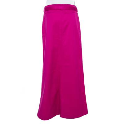 Roberto Cavalli Pink Denim Belted Flared Maxi Skirt M 360093 - 2