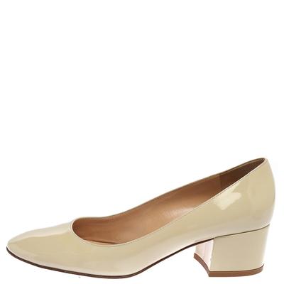 Gianvito Rossi Cream Patent Leather Round Toe Block Heel Pumps Size 37.5 357849 - 1