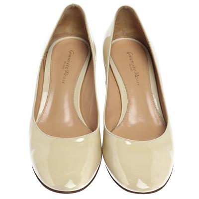 Gianvito Rossi Cream Patent Leather Round Toe Block Heel Pumps Size 37.5 357849 - 2
