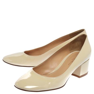 Gianvito Rossi Cream Patent Leather Round Toe Block Heel Pumps Size 37.5 357849 - 3