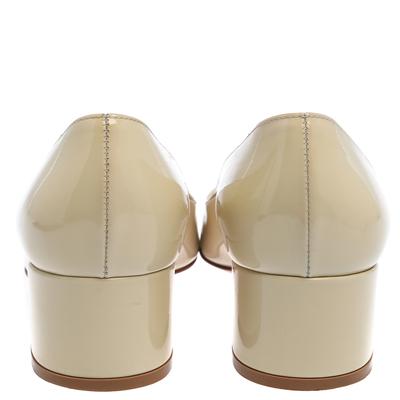 Gianvito Rossi Cream Patent Leather Round Toe Block Heel Pumps Size 37.5 357849 - 4