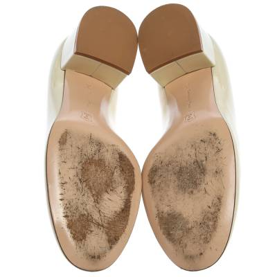 Gianvito Rossi Cream Patent Leather Round Toe Block Heel Pumps Size 37.5 357849 - 5