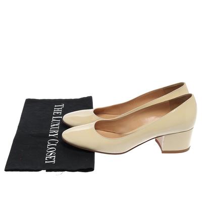 Gianvito Rossi Cream Patent Leather Round Toe Block Heel Pumps Size 37.5 357849 - 7