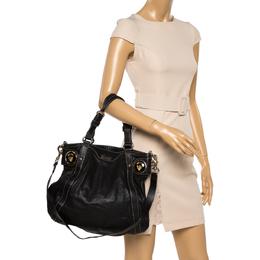Gucci Black Leather Crest Boule Shoulder Bag 359992