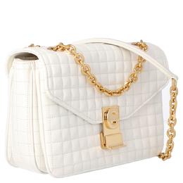 Celine White Medium Quilted Calfskin Leather C Bag 359558