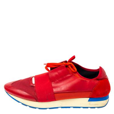 Balenciaga Red Mesh, Leather And Suede Race Runners Low Top Sneakers Size 45 360405 - 1
