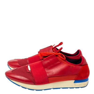 Balenciaga Red Mesh, Leather And Suede Race Runners Low Top Sneakers Size 45 360405 - 3
