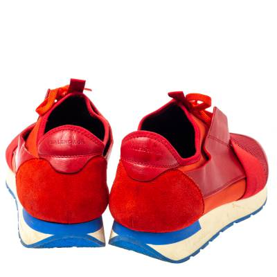 Balenciaga Red Mesh, Leather And Suede Race Runners Low Top Sneakers Size 45 360405 - 4