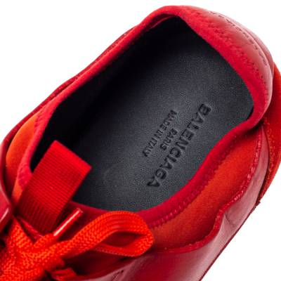 Balenciaga Red Mesh, Leather And Suede Race Runners Low Top Sneakers Size 45 360405 - 6