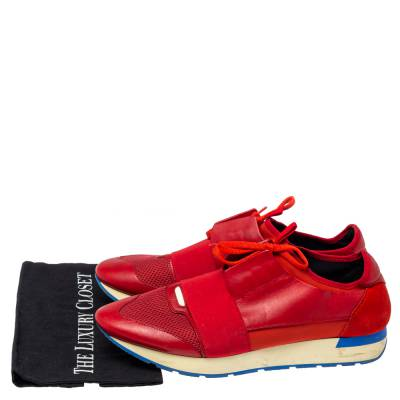 Balenciaga Red Mesh, Leather And Suede Race Runners Low Top Sneakers Size 45 360405 - 7