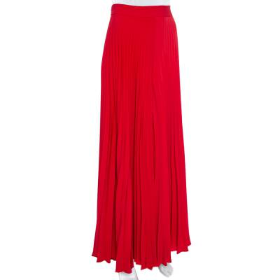 Ch Carolina Herrera Red Wide Leg Pleated Palazzo Pants S 359852 - 1