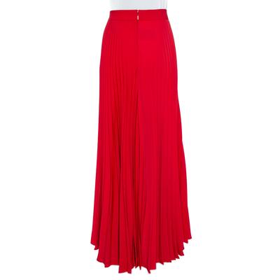 Ch Carolina Herrera Red Wide Leg Pleated Palazzo Pants S 359852 - 2