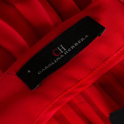 Ch Carolina Herrera Red Wide Leg Pleated Palazzo Pants S 359852 - 4