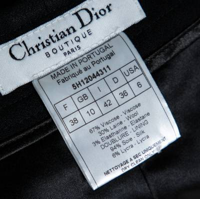 Christian Dior Boutique Black Crepe Flared Trousers M 359453 - 4