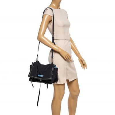 Prada Black Nylon and Leather Etiquette Studded Flap Shoulder Bag 358072 - 1