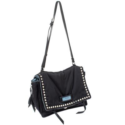 Prada Black Nylon and Leather Etiquette Studded Flap Shoulder Bag 358072 - 2