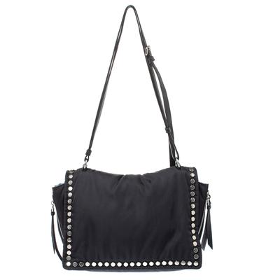 Prada Black Nylon and Leather Etiquette Studded Flap Shoulder Bag 358072 - 3